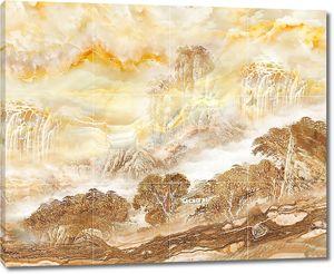 Деревья на холмах по мрамору