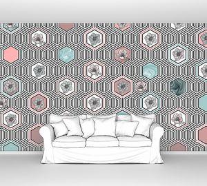 Geometrical fusion-розово-голубой орнамент из сот