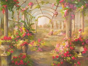 Заброшенный парк с множеством цветов