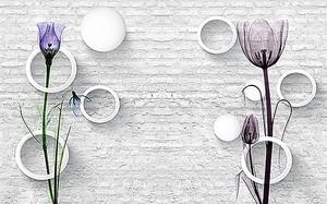 Два цветка на кирпичной стене