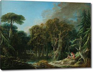 Франсуа Буше. Лесной пейзаж с солдатами