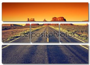 Дорога в долине монументов на закате