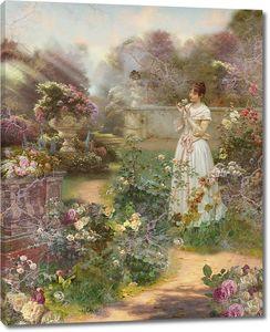 Девушка в цветочном саду
