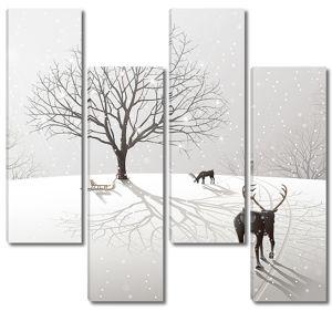 Олень бредет по снегу