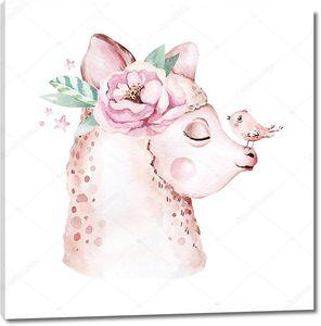 Лама с птичкой на носу