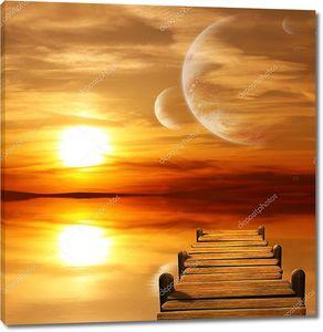 Заходящее солнце на чужой планете
