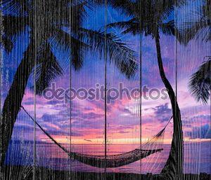 Красивый отдых закат, гамак силуэт с пальмами