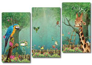 Жираф и попугай в дивном лесу
