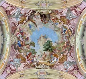 Ясов - 2 января: фреска Святого Иоанна Крестителя, Иоганн Лукас kracker с года (1752-1776) барокко потолок из premonstratesian обители в Ясов на 2 января 2014 года в Ясов, Словакия