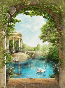 Вид из арки на озеро с лебедем