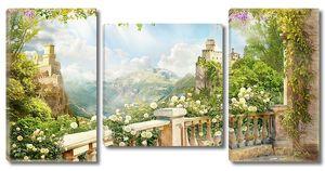 Балкон с белыми розами