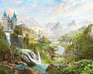 Реки с водопадами и замком