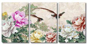 Колибри в разноцветных пионах