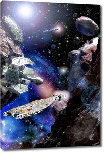 космический корабль и астероид поля