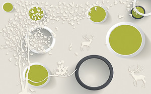 Абстракция с кругами и оленями