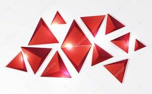 Красные пирамидальные формы на белом фоне