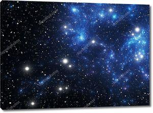 Космическая туманность с синими звездами