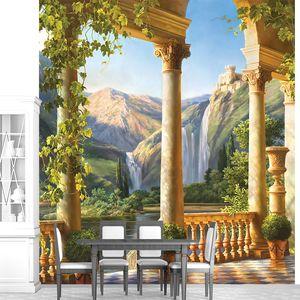 Вид с террасы на невероятный водопад