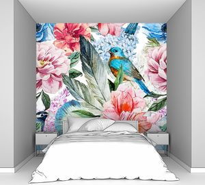 Акварель цветы и певчая птица