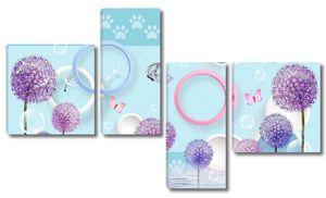 Синий фон с лапами, разноцветные кольца, разноцветные одуванчики