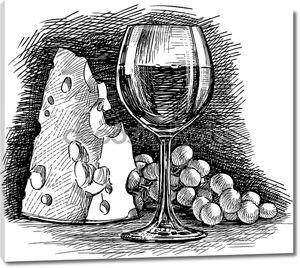 Виноградное вино и сыр рисунок