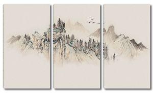 Рисованные горные вершины