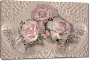 Три розовые розы с бабочкой