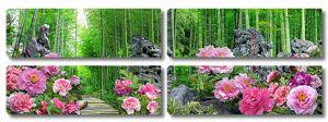Пионы на опушке бамбукового леса