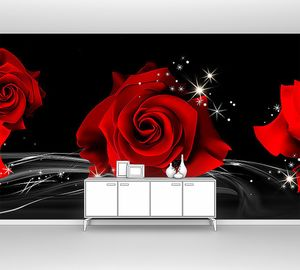 Три розы на черном