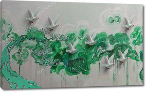 Абстрактные зеленые пятна, белые птицы