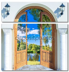 Arch door open pond