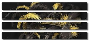 Тропические листья 3d визуализировать. Горизонтальный баннер с золотыми и черными тропическими листьями на темном фоне. Экзотический ботанический дизайн для приглашения на вечеринку, плакат, веб-страницу, упаковку.