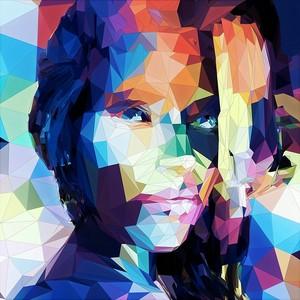Лицо девушки в графичном стиле