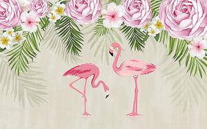 Фламинго под розами