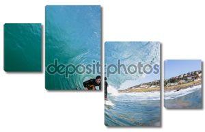 Поездка на полые волны серфер