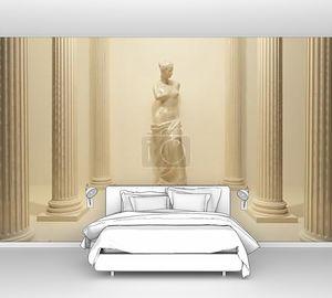 Древняя статуя Обнаженная Венера в середине перспективы таблетки