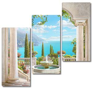 Арка с колоннами с видом на море