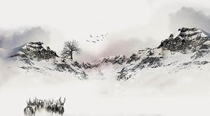 Стадо оленей в горах