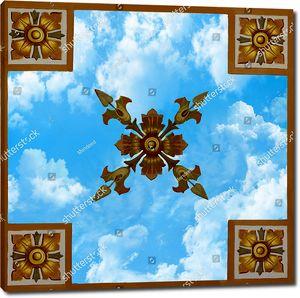 4 квадрата с цветочным узором и цветком посередине с небом