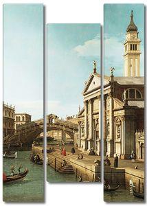 Фреска с видом на мост в Венеции