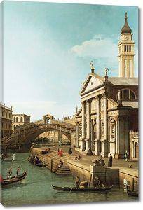 Джованни Антонио Каналь. Каприччио: мост Риальто и церковь Святого Джорджо Маджоре