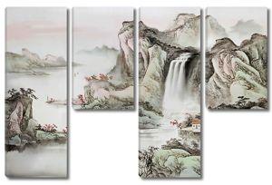 Скалы с водопадом