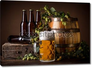 Бочка, хмель, пиво