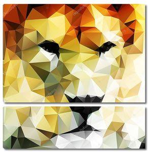 абстрактный векторный рисунок головы льва составлен из треугольников