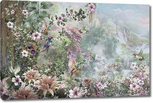 Цветущая природа на фоне водопадов