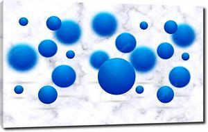 Белый мраморный фон, синие шары в фокусе и вне фокуса