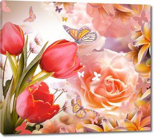 Тюльпаны с кремовыми розами