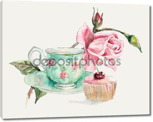 время чаепития. чашка с чаем и ветке розы.
