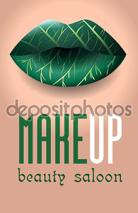 Салон красоты. Зеленые женские губы