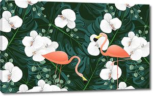 Фламинго с орхидеями